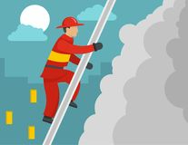 Firefighter on stairs concept, flat style. Firefighter on stairs concept. Flat illustration of firefighter on stairs vector concept for web Stock Photos