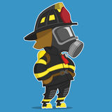 Firefighter stands. Vector illustration. Hero Stock Photo