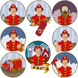 Firefighter stickers. Vector collection of nine different cartoon fireman stickers - face emotions Royalty Free Stock Image