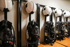 Firefighter suit and equipment ready for operation.  Royalty Free Stock Photos