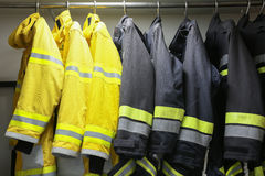 Firefighter suit and equipment ready for operation, Fire fighter room for store equipment, Protection equipment of fire fighter Stock Images