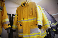 Firefighter suit and equipment ready for operation, Fire fighter room for store equipment, Protection equipment of fire fighter Stock Photo