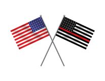 Symbolic Firefighter Support American Flag Illustration stock illustration