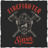 Firefighter t-shirt label design. With illustration of helmet with Crossed Axes Stock Images