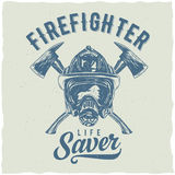 Firefighter t-shirt label design. With illustration of helmet with Crossed Axes Stock Photo