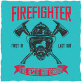 Firefighter t-shirt label design. With illustration of helmet with Crossed Axes Royalty Free Stock Photos