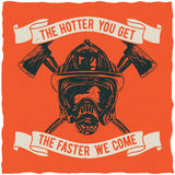 Firefighter t-shirt label design. Stock Photo