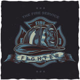 Firefighter t-shirt label design with illustration of helmet with Crossed Axes Royalty Free Stock Photo