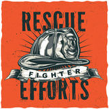Firefighter t-shirt label design with illustration of helmet with Crossed Axes Stock Image
