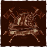 Firefighter t-shirt label design with illustration of helmet with Crossed Axes. Hand drawn illustration Stock Photo