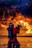 Firefighter training, The Employees Annual training Fire fighting.  royalty free stock photography