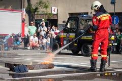 Firefighter training exercise in Pezinok, Slovakia Royalty Free Stock Photo