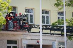 Firefighter training exercise in Pezinok, Slovakia Stock Images