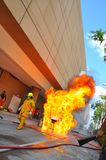 Firefighter. During training outdoor, Thailand Stock Photo