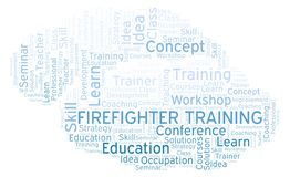 Firefighter Training word cloud. Wordcloud made with text only stock illustration