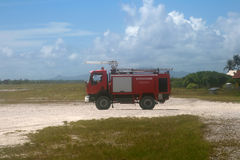 Firefighter at tropical airport Royalty Free Stock Photography