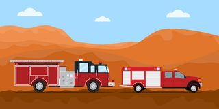 Firefighter truck fire extinguisher on the road convoy with mountain desert dry as background. Vector graphic illustration Stock Image
