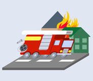 Firefighter truck flat skew icon Stock Images