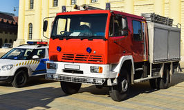 Firefighter truck and a police car Royalty Free Stock Photos