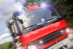 Firefighter truck speed composing Stock Photos