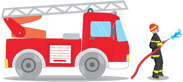 Firefighter and truck vector. Firefighter and truck isolated on white vector illustration Stock Photography