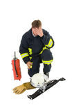 Firefighter in uniform stock photo