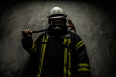 Firefighter in uniform stock images