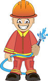 Firefighter in uniform with fire hose. Cartoon illustration of a firefighter in uniform with fire hose Stock Photo