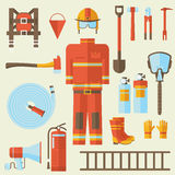 Firefighter uniform and first help equipment and Stock Images