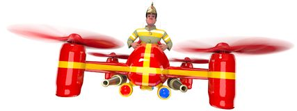 Firefighter. In uniform and in a helmet flying on a red quadcopter. 3D illustration Royalty Free Stock Photos