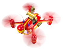 Firefighter. In uniform and in a helmet flying on a red quadcopter. 3D illustration Stock Photography