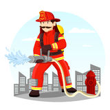 Firefighter in uniform spraying water with hose. Fireman in helmet near hydrant spraying water. Rescue man in uniform and helmet at front of town or city. Person Royalty Free Stock Photos