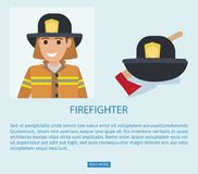 Firefighter in Uniform with Wooden Axe Vector. Firefighter advert web page vector illustration. Fireman in safety protective costume in hat with emblem and Stock Photos