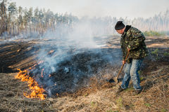 Firefighter use leafs branch for forest fire suppression. BOYARKA, UKRAINE - 26 MART 2015: Firefighter or firemen in forest fire. It was controlled forest fire royalty free stock photos