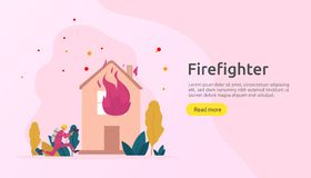Firefighter using water spray from hose for fire fighting burning house. fireman in uniform, fire department rescuer. illustration. For web landing page, banner vector illustration