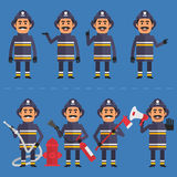 Firefighter in various poses. Vector illustration, Firefighter in various poses, EPS 8 format Stock Image