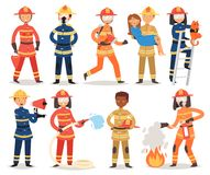 Firefighter vector cartoon fireman character firefighting fire with firehose hydrant and fire extinguisher equipment. Illustration set of man or woman in helmet Stock Photo