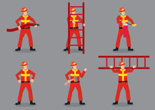 Firefighter Vector Character Design Illustration Stock Photos