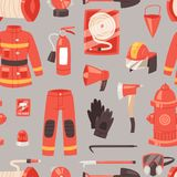 Firefighter vector firefighting equipment firehose hydrant and fire extinguisher illustration set of fireman uniform. Firefighter vector firefighting equipment Stock Photos