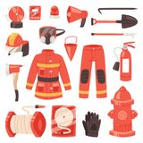 Firefighter vector firefighting equipment firehose hydrant and fire extinguisher illustration set of fireman uniform. Firefighter vector firefighting equipment Stock Photo