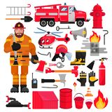 Firefighter vector firefighting equipment firehose hydrant and fire extinguisher illustration firefighting set of. Firemans uniform with helmet and fire-engine stock illustration