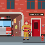 Firefighter vector icon set Stock Images