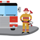 Firefighter vector icon set stock illustration