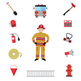 Firefighter vector icon set Royalty Free Stock Images