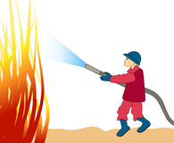 Firefighter. Vector illustration of a firefighter fighting fire Royalty Free Stock Photography