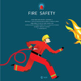 Firefighter Vector Illustration. Fire department composition banner Stock Image