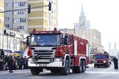 Firefighter vehicles at a national day in Zalau, Romania. December 1, 2018:Firefighter vehicles at the parade for Romania`s national Day in Zalau, Romania stock photography