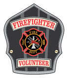 Firefighter Volunteer Badge. Is an illustration of a firefighter's or fireman's shield or badge with a Maltese cross and firefighter tools logo Royalty Free Stock Photography
