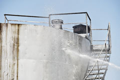 Firefighter water jet extinguish storage tank Royalty Free Stock Image