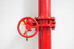 Firefighter water pipe with manual valve Stock Images